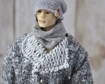 Beautiful Handmade Clothes for 1/12 scale male dolls Zjakazumi- cap and scarf