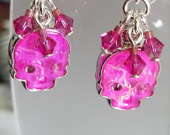 Pink crystal skulls, sugar skulls, Dia De Los Muertos, day of the dead, drop earrings