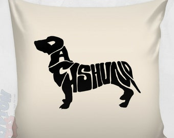 """Dachshund Pillow Cover - Cool Dachshund Silhouette Pillow Case - Great Dachshund Decor for Dog Lover - 16 x 16"""" Doxie Pillow (NKT1PC)"""
