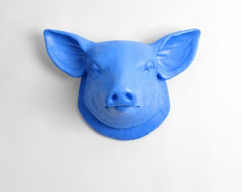 The Hamlet - Cobalt Faux Pig Head - Farmhouse Wall Decor - Pig Decor - Kitchen Decor - Faux Taxidermy - Pig Sculpture - Farm Animal Decor