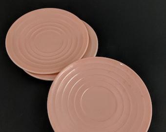Vintage Pink Platonite Moderntone Saucers Set of 3 Hazel Atlas Colored Milk Glass Blush Mid Century Dinnerware