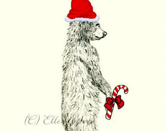 CARD, note card, Christmas card, bear, black bear, Ellen Strope, castteam, black bear decor, Christmas decor, candy cane