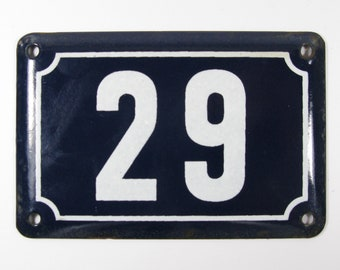 House Number Plate No. 29, Original Enamel French Blue and White, Old French House Number, Enamel House Number (347)