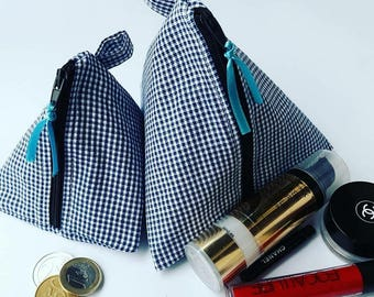 Triangel Pouch * Makeup Pouch * Makeup Bag * Coin Pouch * Coin Bag * Zippered Pouch * Zipper Pouch * Quilted Pouch