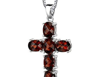 Solid Sterling Silver Blood Red Garnet Oval Cut Cross Pendant, VVS-VS Free Shipping!