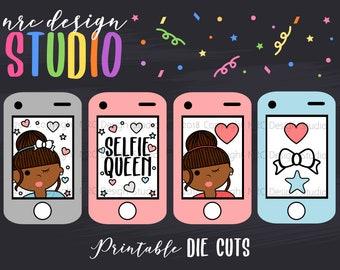 SALE Planner Die Cuts Printable, Selfie Die Cuts, Planner Frame Die Cuts, African American Girl, Phone Die Cuts - Planner Accessories
