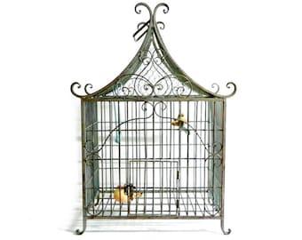 "Antique Victorian French Wrought Iron Birdcage - Art Nouveau - Vintage Chinoiserie Decorative Metal Bird Cage - Large 24"""