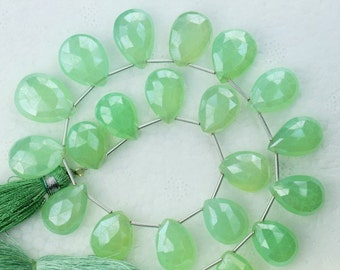 10 Inch, PREHNITE GREEN CHALCEDONY,Superb-Finest Faceted Pear Briolettes