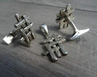 Trinity cufflinks with matching Trinity pendant. Solid sterling silver.