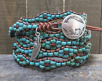 Native American Leather Wrap Bracelet/ Leather And Seed Bead Wrap Bracelet/ Boho Beaded Wrap Bracelet/ Southwestern Jewelry.
