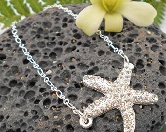 Rhinestone Starfish Bracelet - Starfish, Silver Starfish, Starfish Bracelet, beach wedding, pearl, silver bracelet, beach jewelry
