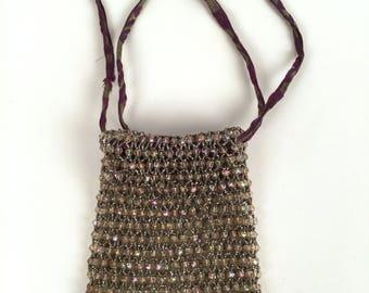 Vintage 20s Beaded Bag, Iridescent Crystal Beads, Mesh Bag, Steel Cut Seed Beads, Criss Cross, Purple Silver Art Deco Ribbon, Beaded Fringe