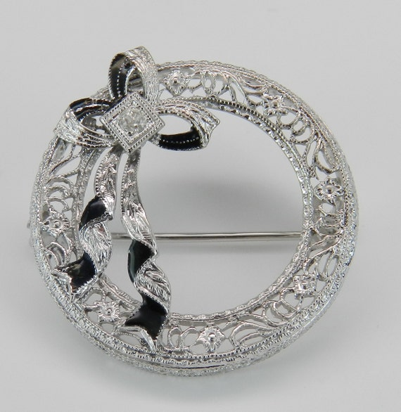 Art Deco Pin Antique Brooch Diamond and Black Enamel Brooch Pin 14K White Gold