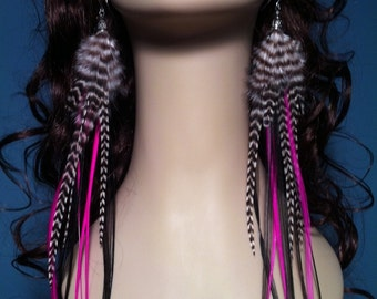 Very Long Feather Earrings Hot Pink Feathers, Black, Grizzly Statement Earings Neon Feather Jewelry