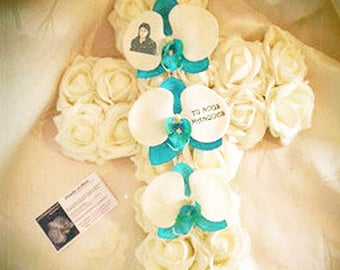 mourning - funeral flowers - roses artificial customize cross