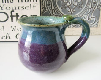 Purple Coffee Cup, Plum and Turquoise Blue Mug, 14 oz, Ready to Ship