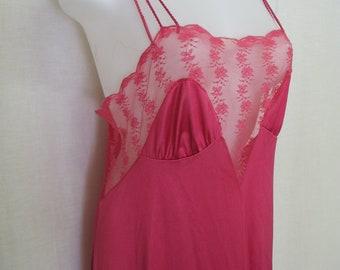 Pink Silk Nightgown Long Nylon Nightgown 1980 Medium