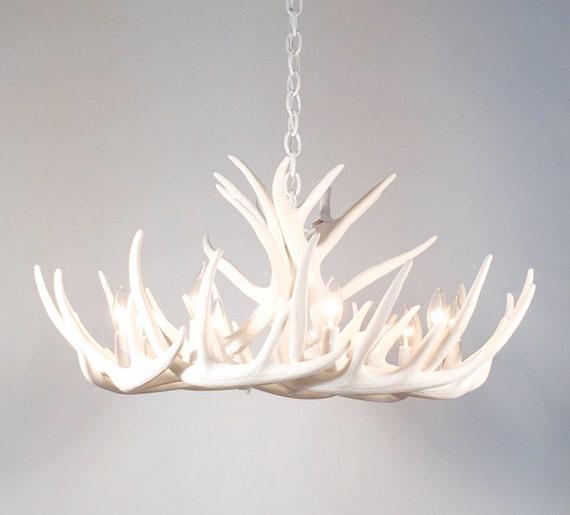 White antler chandelier faux antler chandelier w12c aloadofball Choice Image