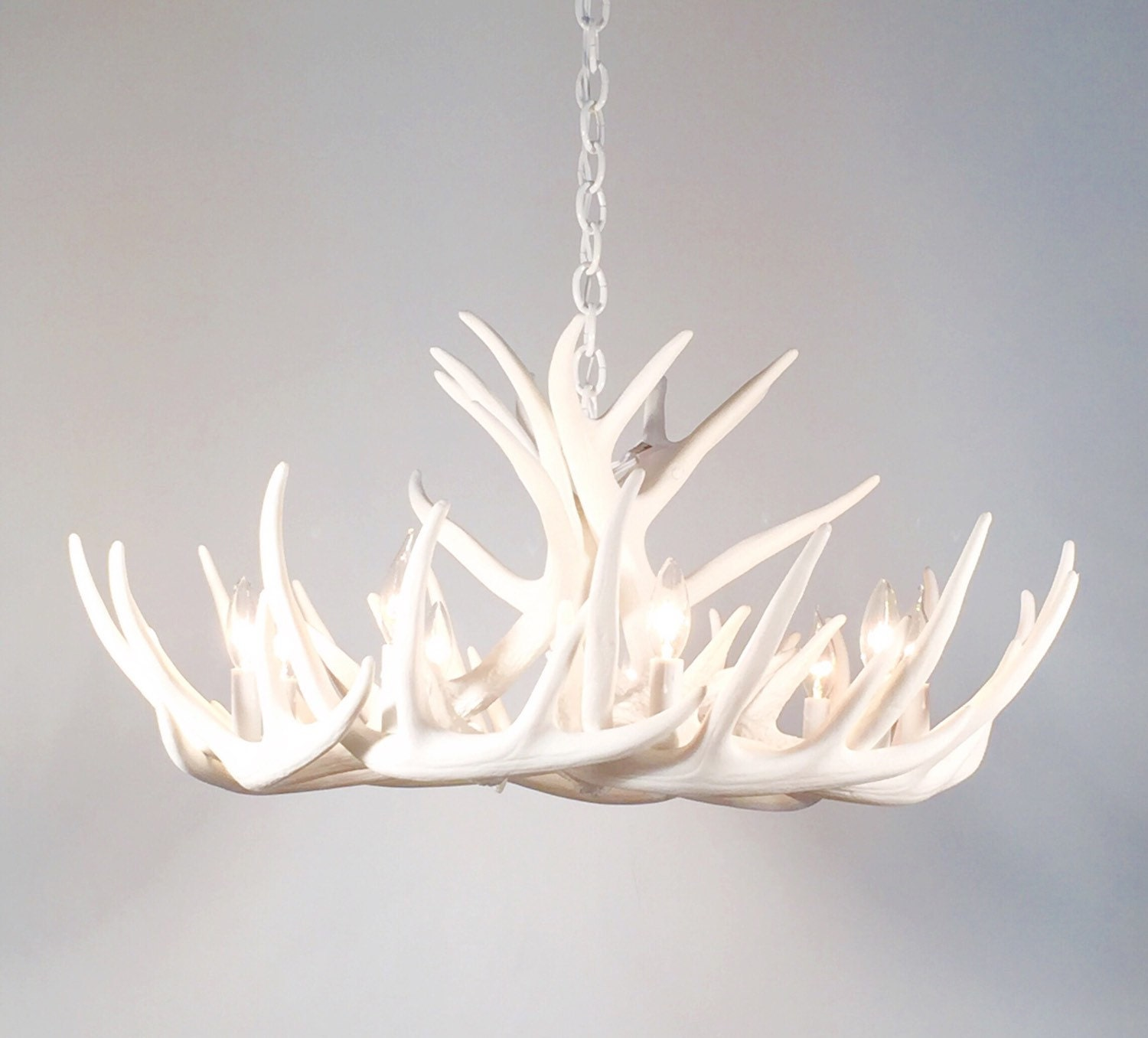 White antler chandelier faux antler chandelier w12c description this is an all white antler chandelier made with faux arubaitofo Gallery