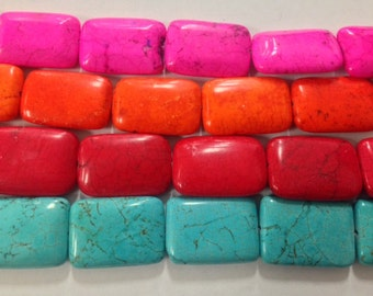22x30mm rectangle magnesite, 13 beads
