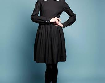 Robe en laine col Claudine Midi robe petite robe noire à manches longues, Plus de taille robe années 1950 robe avec poches à la main
