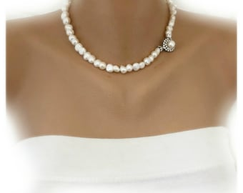 12 mm Ivory Fresh Water Pearl Necklace with  925 silver Clasp