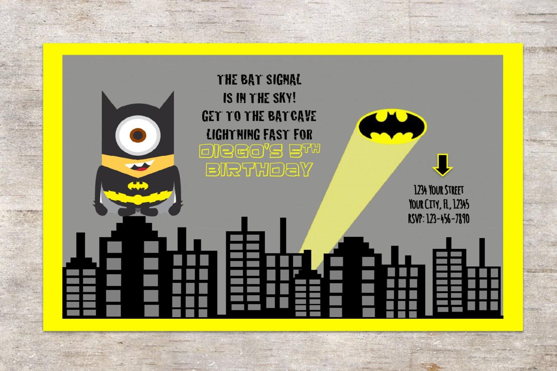 MiNION Batman Invitation Birthday PartyDigital Invitation