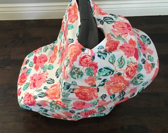 Knit Delicate Flower Car Seat Canopy and Nursing Cover