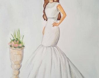 Custom Bridal Portrait (Watercolour)