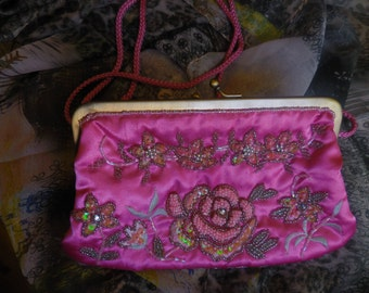 Embroidered Purse, Evening Bag, Clutch, Pink, sequins, seed beads, Vintage