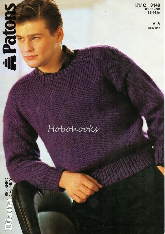 Mens Knitting Pattern Mens Sweater Mens Jumper Chunky Sweater Round