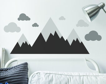 Monochrome Mountains and Clouds V2 Wall Art Sticker Decal Mural, Great Baby & Toddler Room Decoration Decor, Monochrome