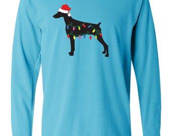 Christmas Doberman Pinscher Long Sleeve Garment Dyed Cotton T-shirt