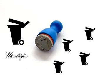 Stamp mini, garbage can, trash collection rubber stamp Ø 12 mm