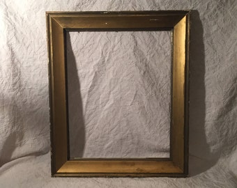 """Beautiful Large Old Picture Frame - Solid Wood - Painted Gold Frame - 25""""x21"""""""