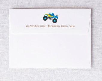 Printed Return Address for Monster Truck Invitation