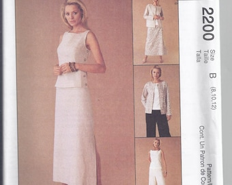 Easy McCall's 2200 Sewing pattern from 1999. Misses Unlined Jacket, Top, Skirt and Pants  Bust 31 1/2-34  UNCUT