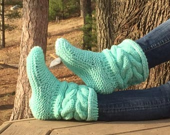 101) SALE Now 10.00 Dollars any Size Slipper/Booties Children Teens Adults Knit Hand Made Cable Patterns Lace Patterns Honeycomb Patterns