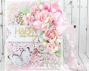 Shabby Chic Happy Birthday Pop-Up Greeting Card