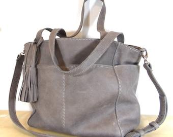 Un sac en cuir grande couleur #gray le monde entier de livraison gratuite
