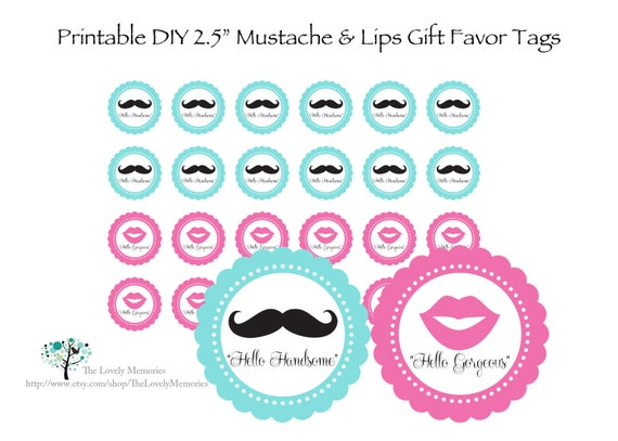 items similar to mustache lips printable party favor tags 2 5