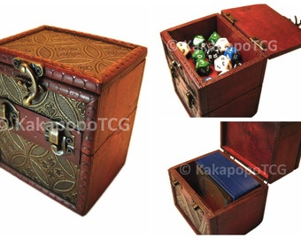 Wood TCG Deck & Counter Dice Box Mtg Yugioh Pokemon Wow Protector Magic the gathering Trading Card EDH Sleeves Wooden Vanguard Case YGO