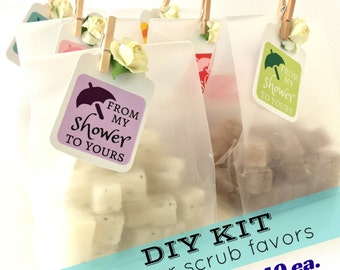 DIY KIT - Bridal Shower Favors - Mini Sugar Scrubs - 20% OFF - Unique Frosted Favor Bags, Paper Rose & Mini Clothespin 2.40 each
