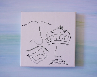 Ink Drawing On Mini Canvas- Hipsters With Hat and Moustache