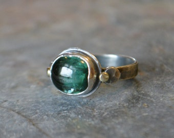 Blue Indicolite Tourmaline Ring Sterling Silver 14K Yellow Gold Statement Ring
