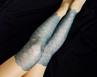 Mermaid Scale Tattoo Tights , S-XXL Sizes Available , Mermaid Costume , Fish Scale