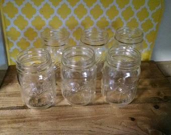 6 New Mason Jars, Crafting, Candles, Hanging, Canning, Vases, PINT Mason Jars, Wedding Decor, Lighting, Rustic Decor