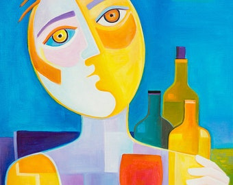 Cubism Abstract Original Oil painting Marlina Vera Fine Art Gallery artwork Wine Tasting Picasso Style Cubist modernism Taster catador vino
