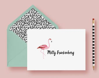 Tropical Flamingo Thank You Cards, Foldover Stationery Set, Personalized Notes, Custom Note Cards, Birthday Gift, Printable or Printed