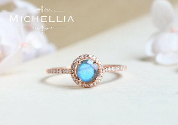 Petite Halo Diamond Ring in Labradorite Labradorite Halo